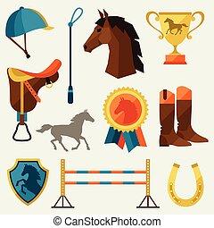 wohnung, pferd, satz, ausrüstung, style., ikone