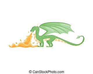 wohnung, phantastisch, atmen, tail., flügeln, langer, feuer, groß, vektor, grün, tier, hörner, design, ansicht., feuerdrachen, seite
