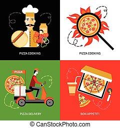 wohnung, quadrat, heiligenbilder, auslieferung, 4, pizza