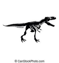 wohnung, rex, skelett, farbe bild, stil, abbildung, ...