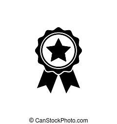 wohnung, rosette, symbol, auszeichnung, ehrennadel, style., ikone