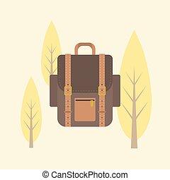 wohnung, rucksack, abbildung, tasche, vektor, design, ikone