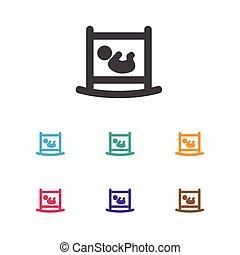 wohnung, säugling, prämie, kinderbett, symbol, freigestellt,...
