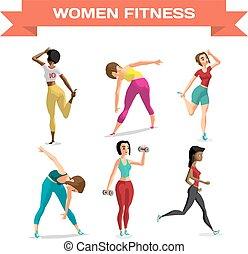 wohnung, satz, arbeitende , abdominals, dehnen, freigestellt, abbildung, sport, zurück, vektor, verwickelt, sportswear., dumbbells., jogging, karikatur, frauen