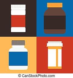 wohnung, satz, behälter, vektor, design, medizinprodukt, verordnung, flasche, pillen