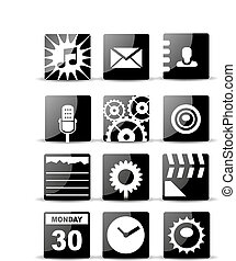 wohnung, satz, beweglich, app, modern, schwarz, ikone