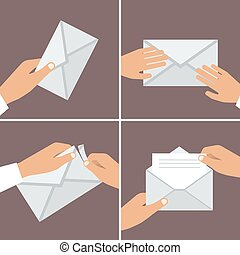 wohnung, satz, envelope., hand, vektor, besitz, illustrationen, style.