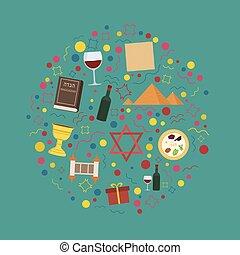 wohnung, satz, heiligenbilder, passah, form, design, feiertag, runder