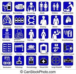wohnung, satz, ikone, symbole, medizin, weißes, blaues, ...