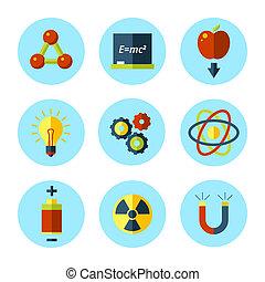 wohnung, satz, modern, vektor, physik, style., ikone