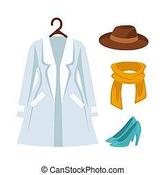 wohnung, satz, oberbekleidung, heiligenbilder, freigestellt, vektor, garderobe, kleidung