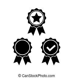 wohnung, satz, rosette, symbol, auszeichnung, style., ikone