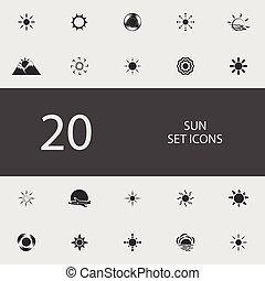 wohnung, satz, sonne, abbildung, vektor, icons.