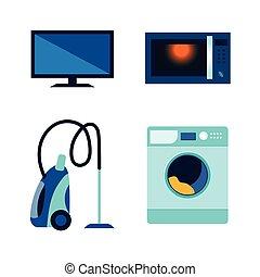 wohnung, satz, vektor, elektronik, verbraucher, ikone