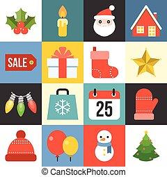 wohnung, satz, weihnachten, vektor, design, 1, ikone