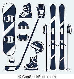 wohnung, satz, winter, heiligenbilder, sport ausrüstungen,...