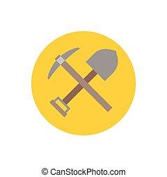 wohnung, schaufel, kreuzhacke, design, axt, ikone, ikone