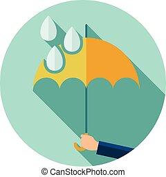 wohnung, schirm, schutz, symbol, regen, vektor, tropfen