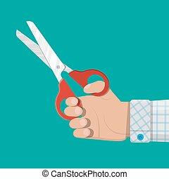 wohnung, scissors., style., halten hand