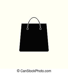 wohnung, shoppen, illustration., tasche, vektor, icon., design.
