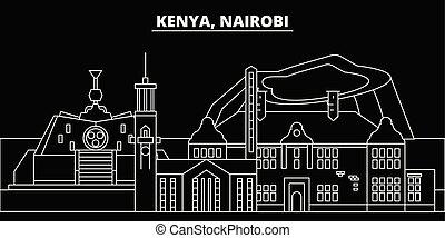 wohnung, silhouette, linear, stadt, abbildung, kenianer, ...
