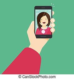 wohnung, smartphone, über, abbildung, beweglich, foto, selfie, junger, sich, telefon, vektor, machen, m�dchen, hand, machen, karikatur, glücklich