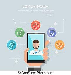 wohnung, smartphone, illustration., medizin, standort, hand, vektor, clinic., besitz, beratungsgespräch, concept.