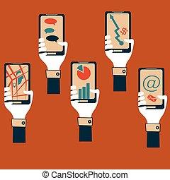 wohnung, smartphones, design, halten hände