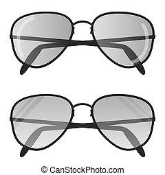 wohnung, sonnenbrille, abbildung, pilot, vektor, design, brille, flieger, ikone