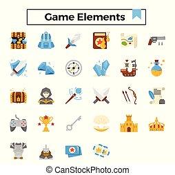 wohnung, spiel, elemente, set., ikone