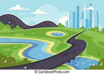 wohnung, stadt, fluß, grün, straße, mountain., landschaftsbild