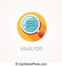 wohnung, stil, überfliegen, app, text., zoom, analyse, vergrößerungsglas, design, langer, shadow., icon., forschung, oder, ikone
