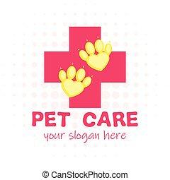 wohnung, stil, aid., pfote, haustier, veterinär, kreuz, logotype., klinik, heart., karikatur, rotes , zuerst
