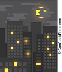 wohnung, stil, auf, stadt, windows, licht, nacht, einige, leben, groß, cityscape, noch