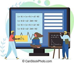 wohnung, stil, begriff, abbildung, vektor, design, mathe