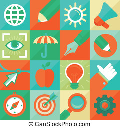 wohnung, stil, begriff, grafik, vektor, design