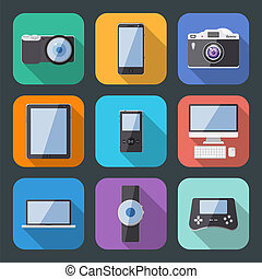 wohnung, stil, elektronik, zubehörteil, vektor, ikone, satz