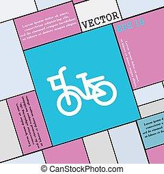wohnung, stil, fahrrad, zeichen., modern, vektor, ikone, dein, design.