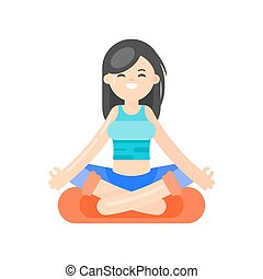 wohnung, stil, frau, yoga., abbildung, vektor, asiatisch