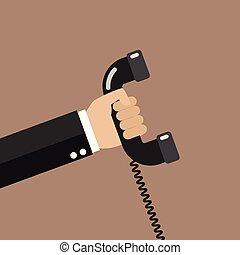 wohnung, stil, halten telephon, hand