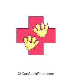 wohnung, stil, heart., pfote, haustier, veterinär, logotype., klinik, aid., kunst, linie, zuerst