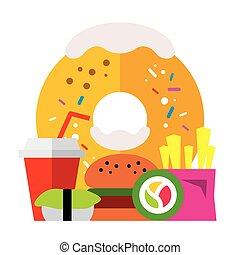 wohnung, stil, illustration., bunte, schnell, essen., vektor, karikatur