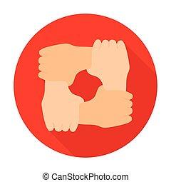 wohnung, stil, illustration., ikone, symbol, freigestellt, hintergrund., spende, vektor, hände, ring, wohltätigkeit, weißes, bestand