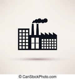 wohnung, stil, industrie, fabrik, vector., ikone
