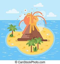wohnung, stil, island., abbildung, tropische , vektor, vulkan