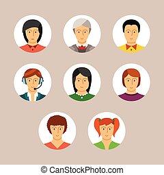 wohnung, stil, satz, avatars, charaktere