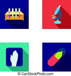 wohnung, stil, satz, heiligenbilder, schläuche, symbol, web., sammlung, mikroskop, pr�fung, vektor, abbildung, medizinprodukt, bio-pill., stehen, hände, röntgenaufnahme, bestand