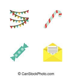 wohnung, stil, satz, vektor, weihnachten, illustrations.