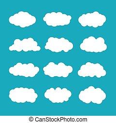 wohnung, stil, satz, wolkenhimmel, kumulus, vektor