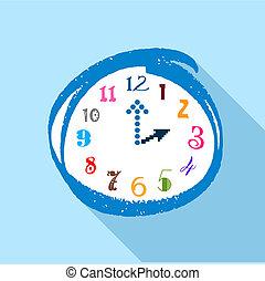 wohnung, Stil, Uhr, Mehrfarbig, Zahlen, Ikone